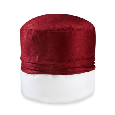 Solid Chenille Footstool Cover in Red