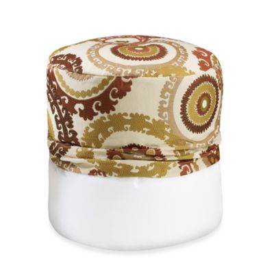Suzani Rust Footstool Cover