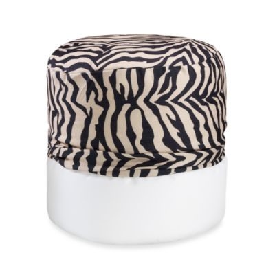Zebra Printed Black/Khaki Footstool Cover