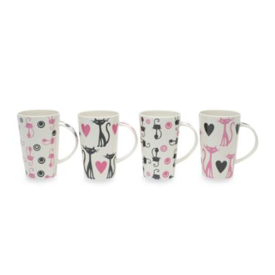 Maxwell & Williams™ Pussy CatPussy Cat 15 1/2-Ounce Mugs (Set of 4)