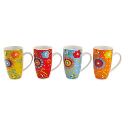 Maxwell & Williams™ Flower Power 16 1/2-Ounce Mugs (Set of 4)