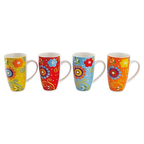 Maxwell & Williams™ Flower Power 15.25 oz. Mugs (Set of 4)