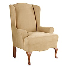 Stretch Suede with Invigo Fresh™ One-Piece Wing Chair Slipcover
