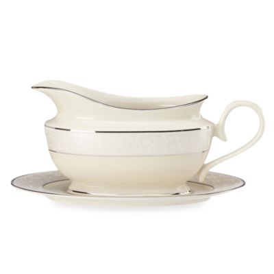 Lenox® Pearl Innocence™ Gravy Boat and Stand in Ivory