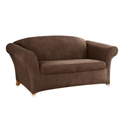 Stretch Suede with Invigo Fresh™ Two-Piece Loveseat Slipcover