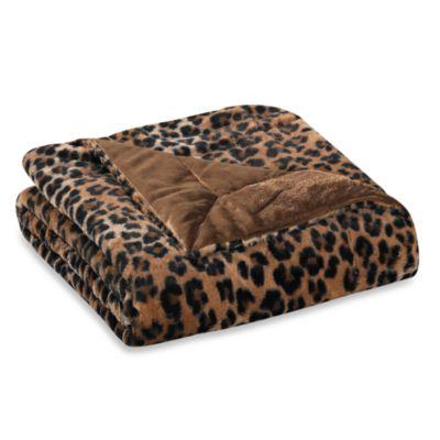 Kenya Faux-Fur Oversized Reversible Throw in Cheetah