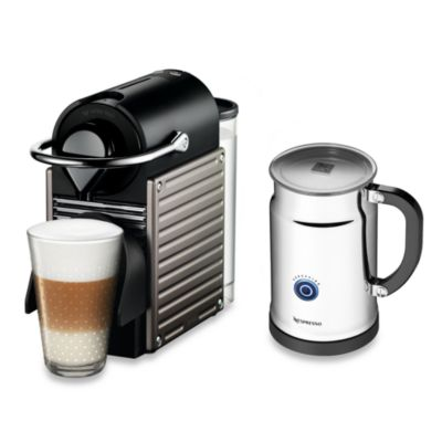 Nespresso® Pixie A C60-US-TI-NE Espresso Machine and Aeroccino Plus Bundle in Titanium