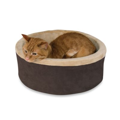 K&H 16-Inch Thermo Kitty Bed in Mocha