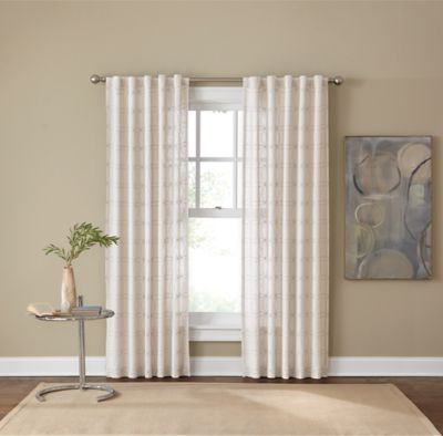 Santorini Rod Pocket/Back Tab 108-Inch Window Curtain Panel in Natural