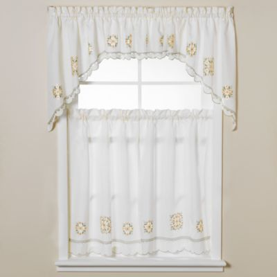 Floral Medallion Window Curtain Tiers
