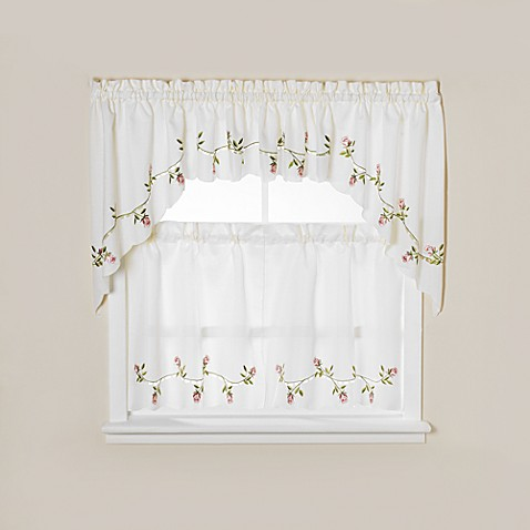Winding Rose Window Curtain Tiers