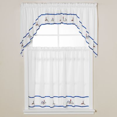 Lighthouse Window Curtain Valance in Blue