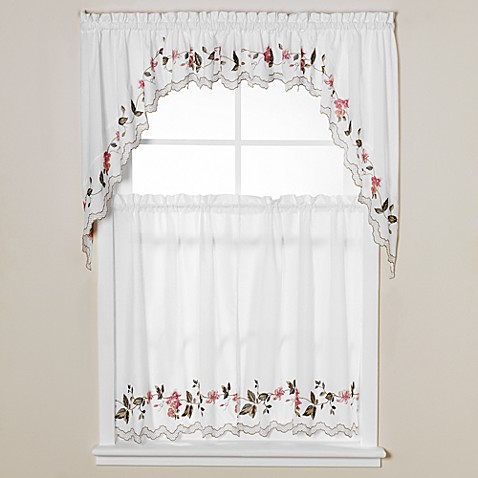 Floral Trellis 36-Inch Window Curtain Tiers