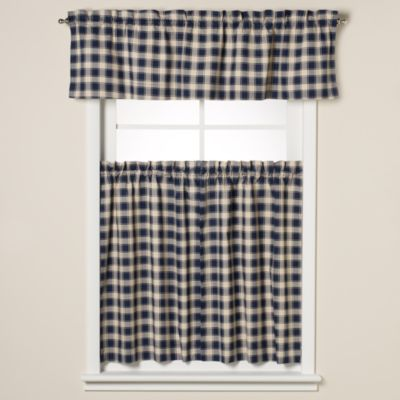 Country Check 24-Inch Window Curtain Tiers in Navy