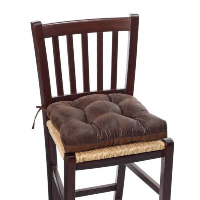 Faux Leather Waterfall Chair Pad in Brown