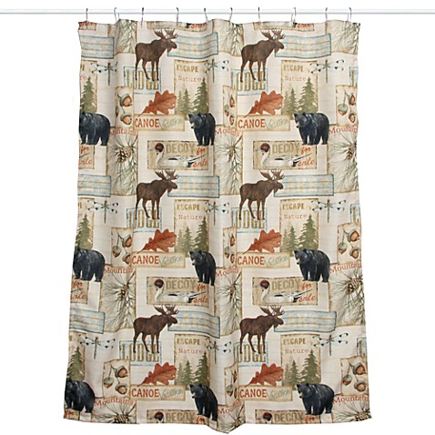 Vintage outdoors fabric shower curtain bed bath beyond Nature inspired shower curtains