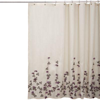 Flower Drop Fabric Shower Curtain