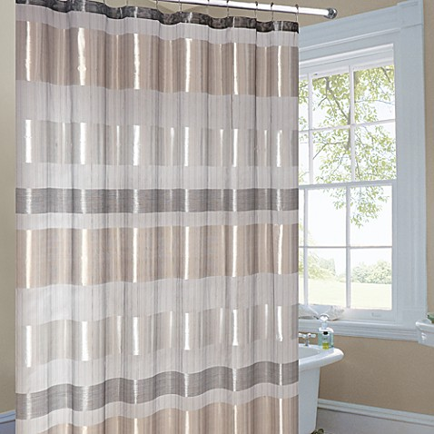 Metallic Striped Gold Fabric Shower Curtain Bed Bath