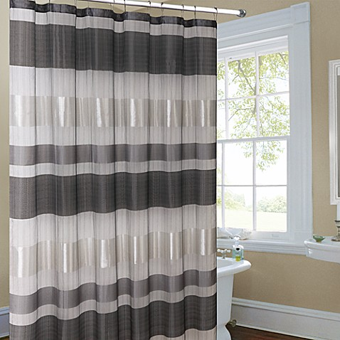 Metallic Striped Silver Fabric Shower Curtain