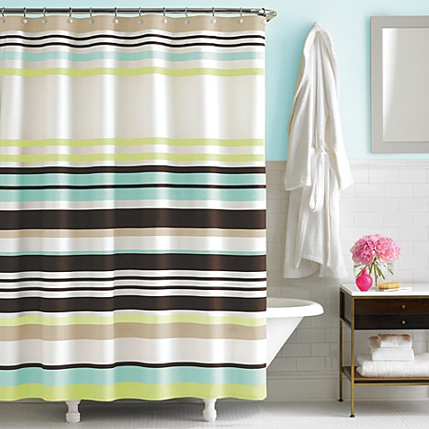 kate spade new york Candy Stripe 72-Inch x 72-Inch Fabric Shower Curtain