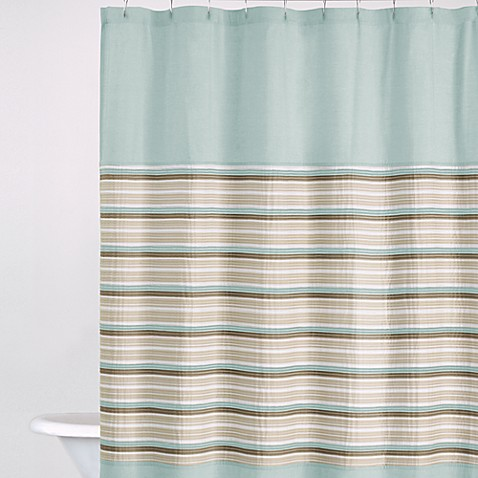 DKNY Sahara 72-Inch x 72-Inch Fabric Shower Curtain in Aqua/Chocolate