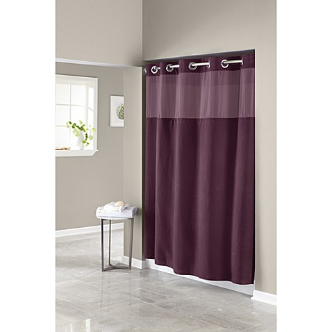 Hookless® Waffle Aubergine 71-Inch W x 74-Inch L Fabric Shower Curtain and Liner Set