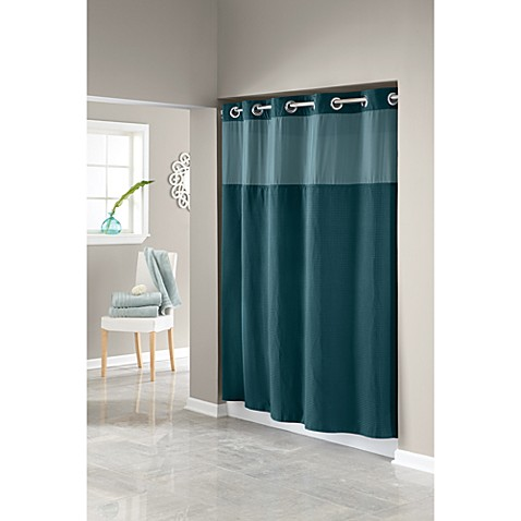 Hookless® Waffle Teal 71-Inch W x 74-Inch L Fabric Shower Curtain and Liner Set