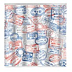 Kikkerland® Passport Vinyl Stamp Shower Curtain