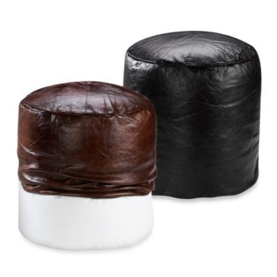 Faux Leather Footstool Cover in Black