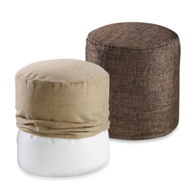 Metallic Linen Footstool Cover in Chocolate