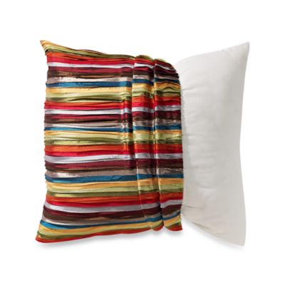 MYOP Pleated Ribbons Square Throw Pillow Cover in Multi-Color