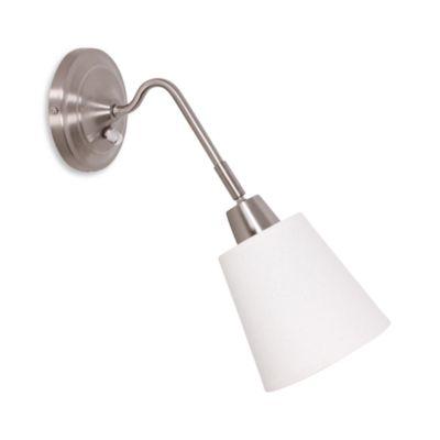 Catalina Lighting Canopy HB Wall Sconce with Linen Swivel Shade in Brushed Steel