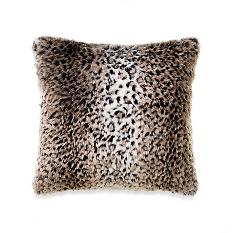 Persian Leopard Faux-Fur Square Throw Pillow