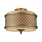 Chester 3-Light Semi-Flush Light in Brushed Antique Brass