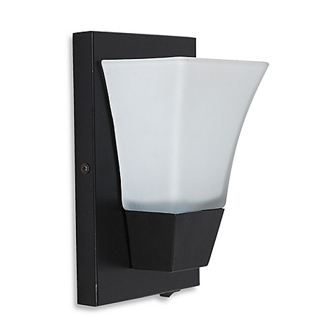 Catalina Square Plug-In Wall Sconce in Frosted White/Matte Black