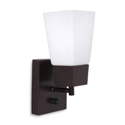 Catalina Square Plug- in Wall Sconce in Bronze - Bed Bath & Beyond