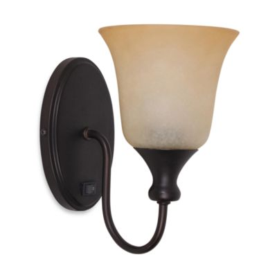 Plug In Wall Sconce Glass Shade : Catalina Plug-In Wall Sconce Bronze w/Amber Glass Shade - Bed Bath & Beyond