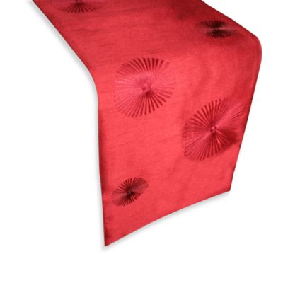 Spiral 72-Inch Embroidered Table Runner in Red
