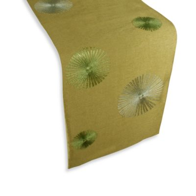 Spiral 72-Inch Embroidered Table Runner in Green