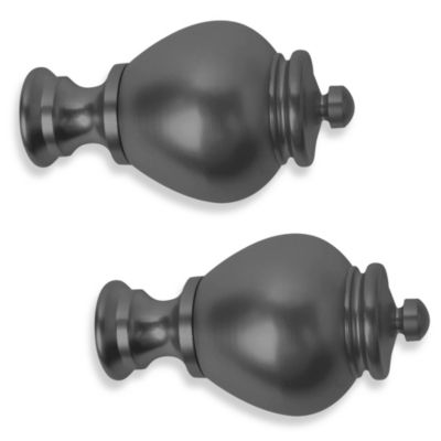 Cambria® Premier Complete Apothecary Finial in Satin Black (Set of 2)