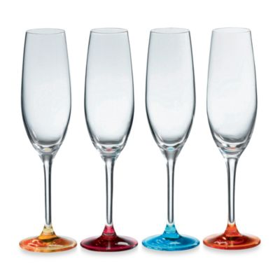 Royal Doulton® Pop In For Drinks 6 3/4-Ounce Champagne Flutes in Assorted Colors (Set of 4)