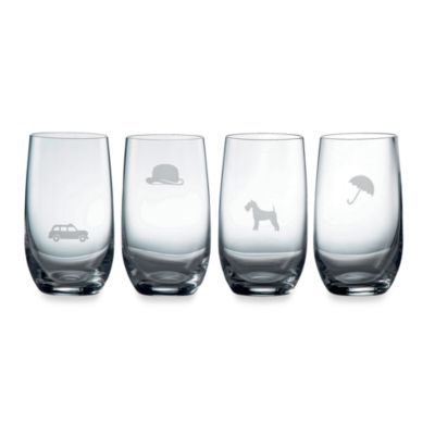 Royal Doulton® Pop In For Drinks 11 3/4-Ounce Etched Motif HighBall Glasses (Set of 4)