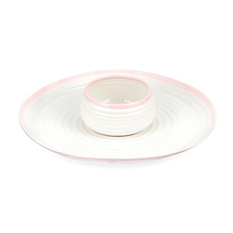 Carnivale 12-Inch Chip and Dip Set in White and Pink