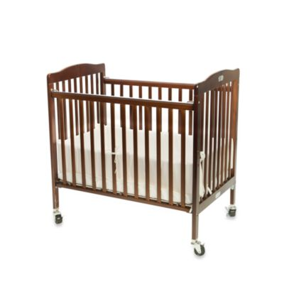 L.A. Baby Easy Lift Compact Folding Portable Crib in Espresso