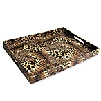 Animal Print Faux Leather Rectangular Serving Tray