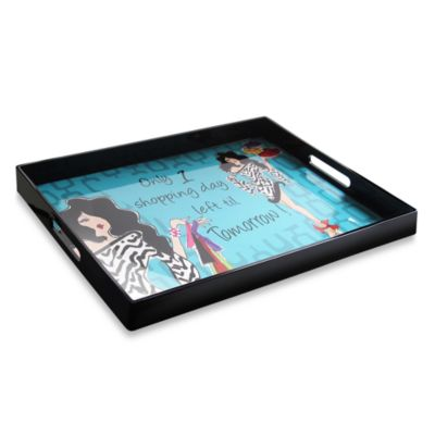 "Working Girls ""Only One Shopping Day"" Serving Tray With Handles"