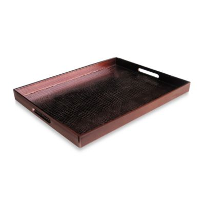 Alligator Wine 14-Inch x 19-Inch Rectangular Serving Tray in Burgundy