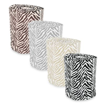 Park B. Smith Zebra Print Laundry Bag in White/Taupe