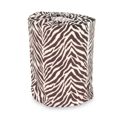 Park B. Smith Zebra Print Laundry Bag in Natural/Brown