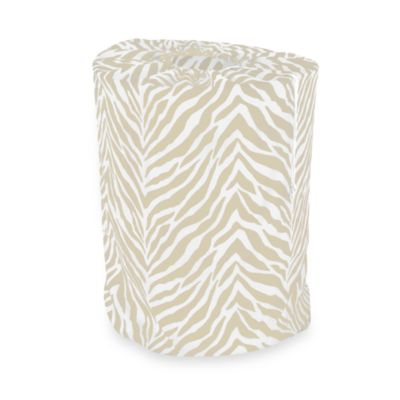 Park B. Smith Zebra Print Laundry Bag in White/Taupe